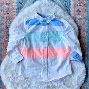 Cat & Jack kids button down shirt white neon back to school boys 4/5 xs